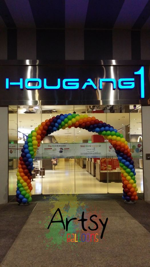 Advancec 6 balloon spiral rainbow arch