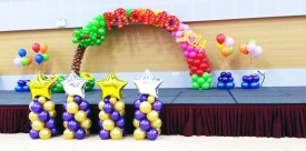 """PROMO 2014"" balloon arch for Ministry of Manpower"