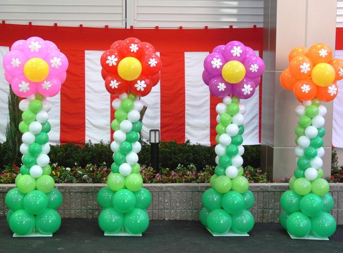 Balloon columns decoration flower singapore balloon for Balloon column decoration