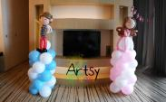 Prince and Princess balloon columns decoration for my friend's 21st birthday