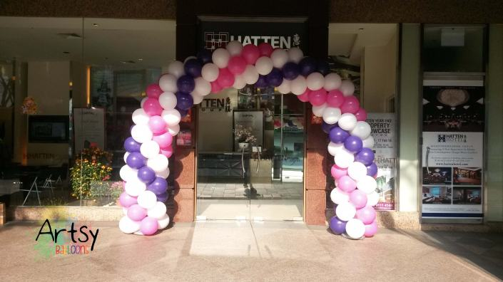 Balloon arch - Spiral purple, pink and white