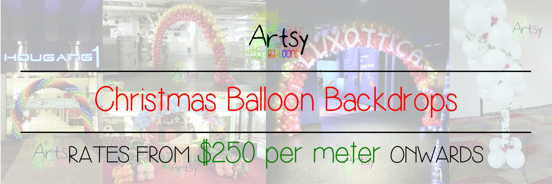 Christmas balloon backdrop banner singapore