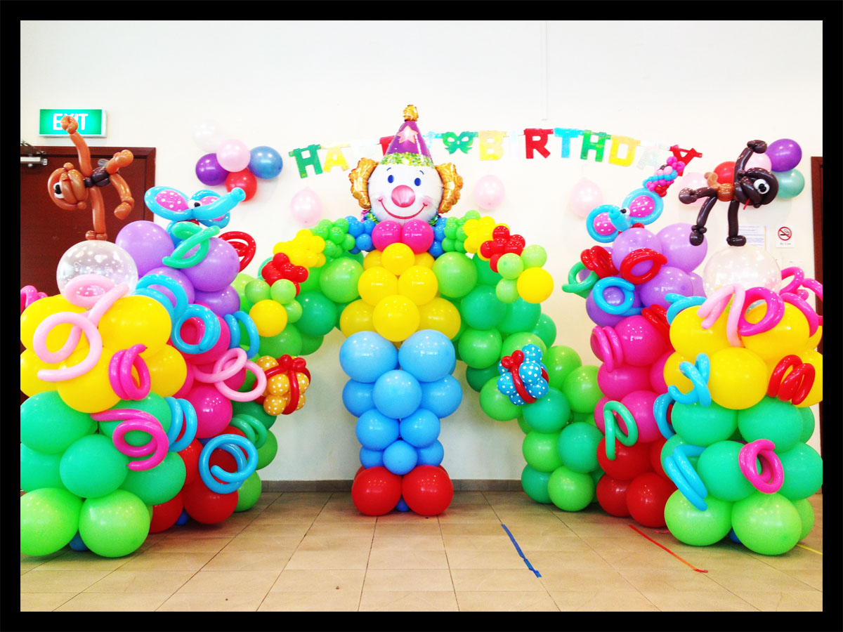 Circus theme balloon backdrop decoration singapore
