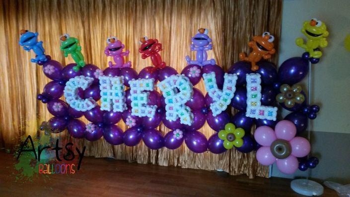Elmo themed balloon decoration for a 21st birthday