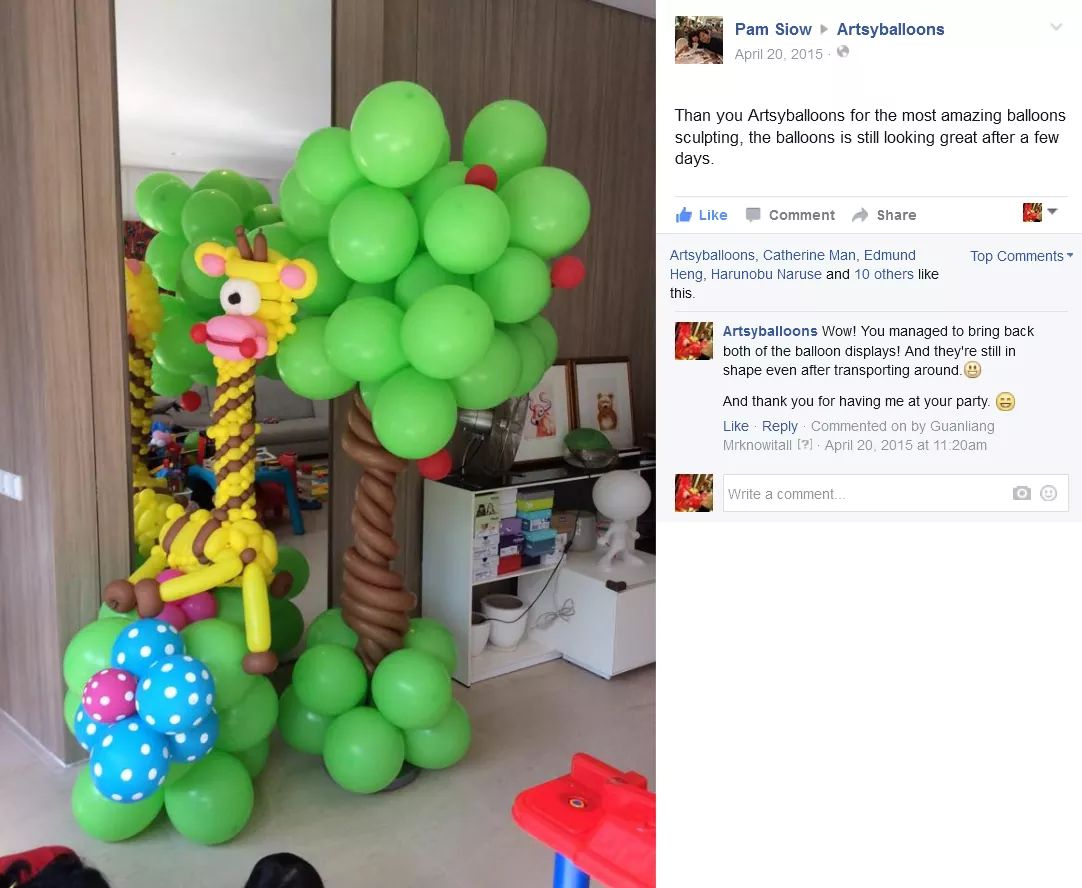 Balloon Decorations for birthday parties testimonial reviews