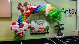 Fully Customised rainbow balloon arch for NDP 2014