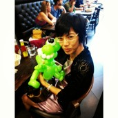 This lady wants a green dinosaur for her son. How sweet of her!