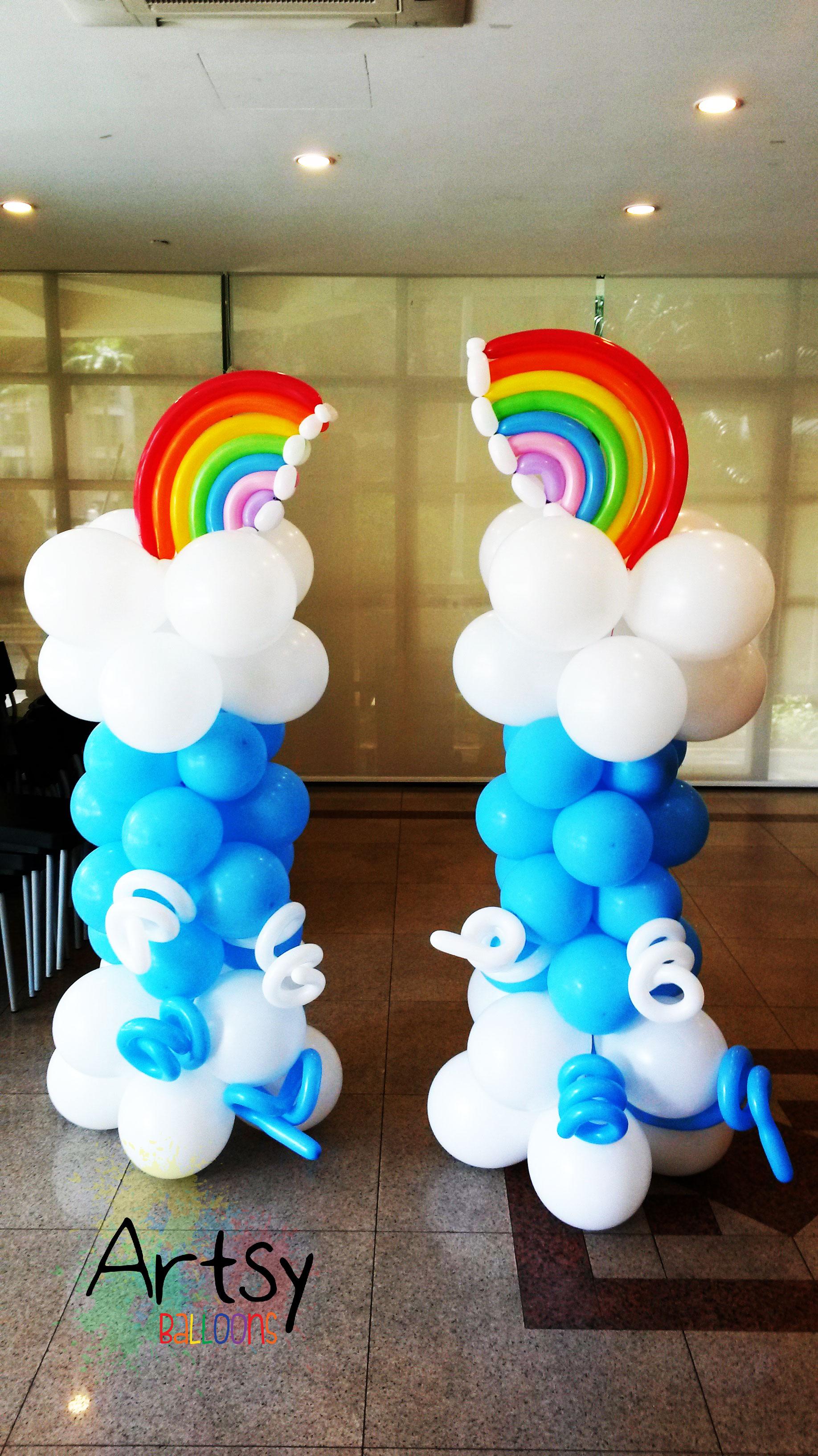 Little twin star rainbow balloon column decoration