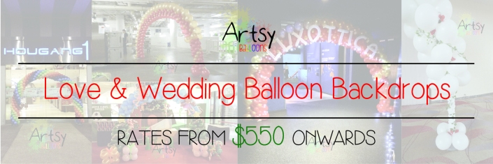 Love and wedding balloon backdrop banner singapore