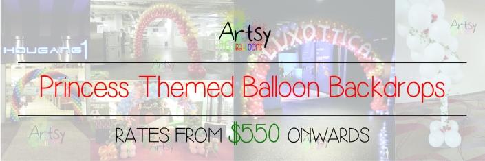 Princess themed balloon backdrop banner singapore