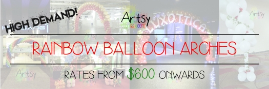 Rainbow balloon arch banner