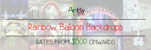 Rainbow balloon backdrop banner singapore