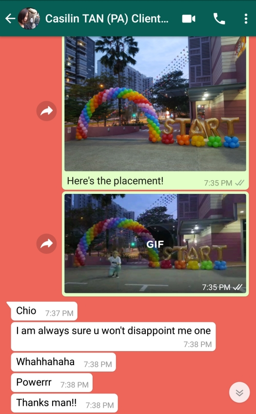 Balloon decoration Singapore testimonial review