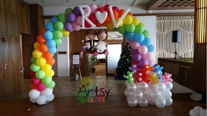 Balloon arch for their ballroom entrance