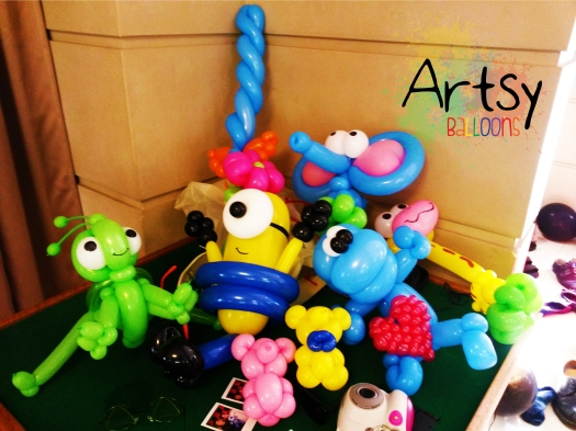 A bunch of balloon sculpture for a birthday party