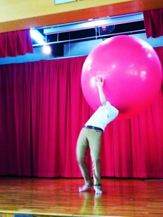 Halfway inside the balloon