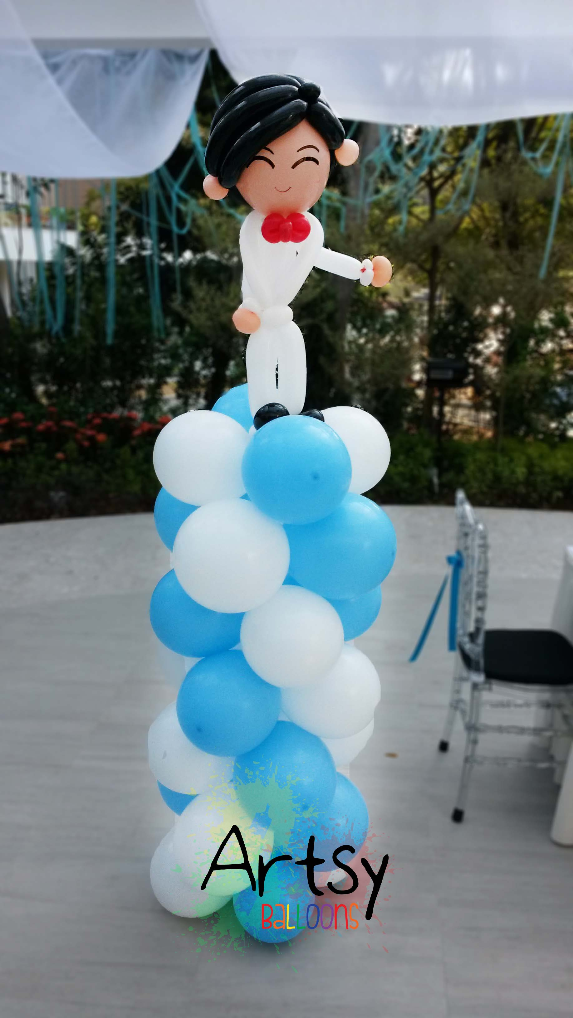 Columns For Decorations Customised Wedding Couple Blue And White Spiral Columns Balloon
