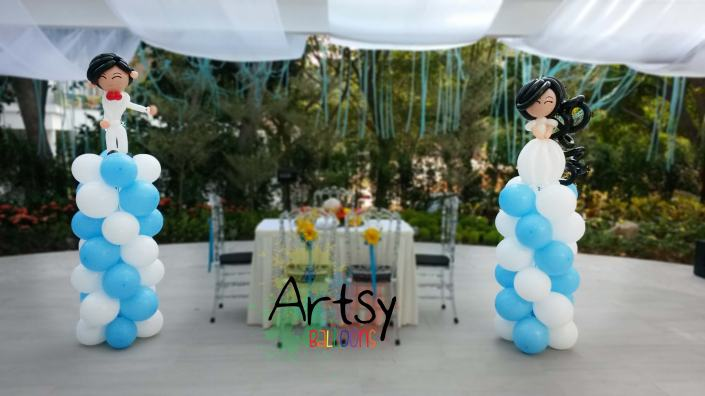 , Customised Wedding Couple + Blue and White Spiral Columns Balloon Decoration!, Singapore Balloon Decoration Services - Balloon Workshop and Balloon Sculpting