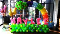 Rainbow balloon arch with advance balloon alphabets