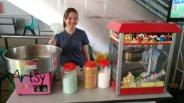 girl doing popcorn and candy floss