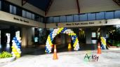 Balloon arch - Spiral white, yellow and blue