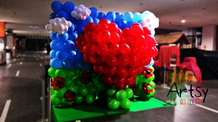 Balloon 3D heart decoration backdrop for Yew Tee Point
