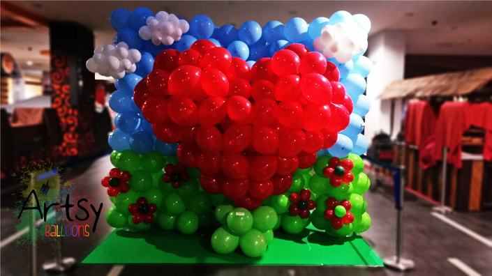 , Balloon 3D heart decoration backdrop for Yew Tee Point, Singapore Balloon Decoration Services - Balloon Workshop and Balloon Sculpting