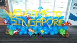 A underwater themed backdrop to welcome all the visitors to Singapore!