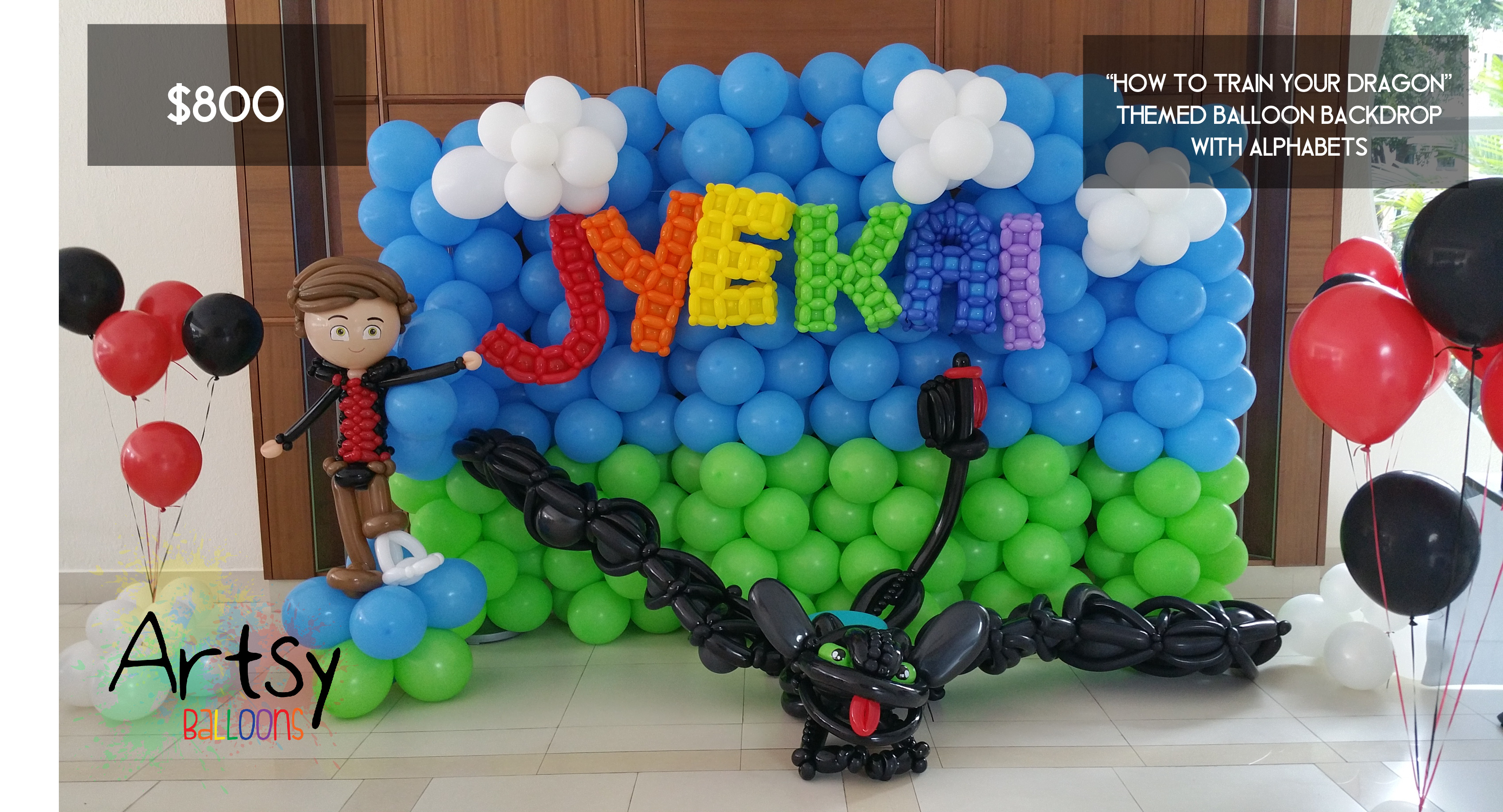 How to train your dragon themed balloon backdrop Singapore Balloon