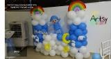 Pocoyo themed balloon backdrop