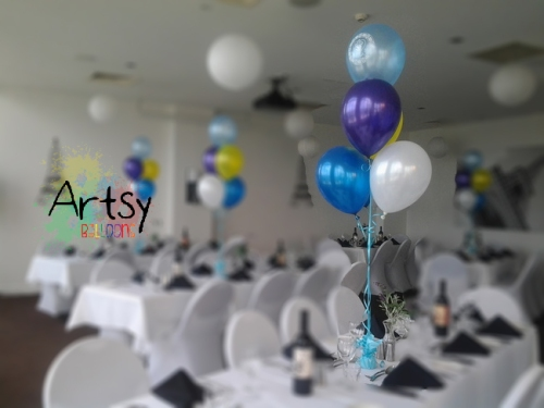 Helium balloon bundle table centerpiece