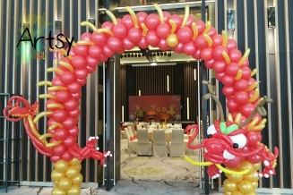 dragon balloon arch to usher in the chinese new year!