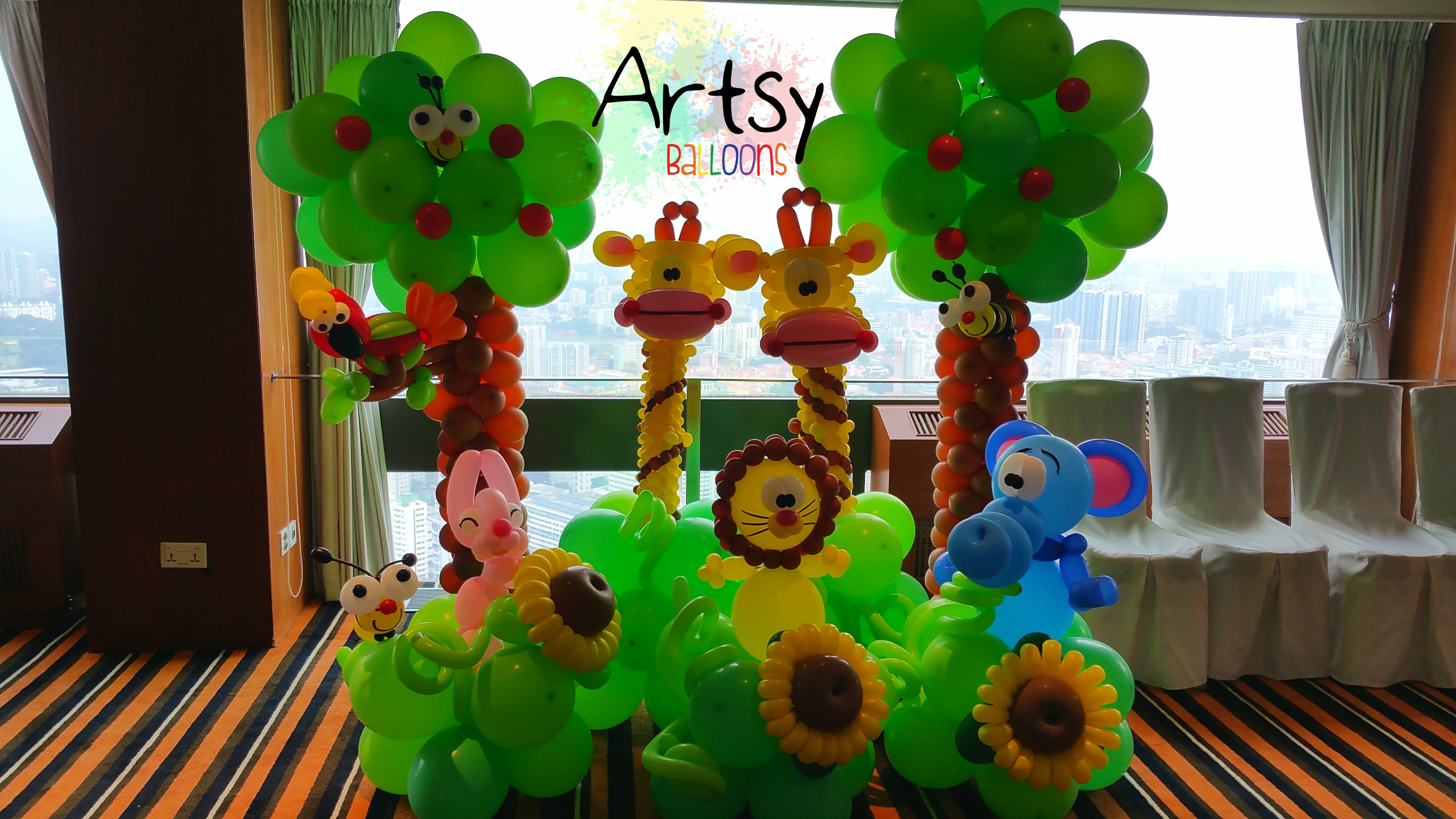 Safari Theme Party With Animal Balloon Arch Backdrop And Many More