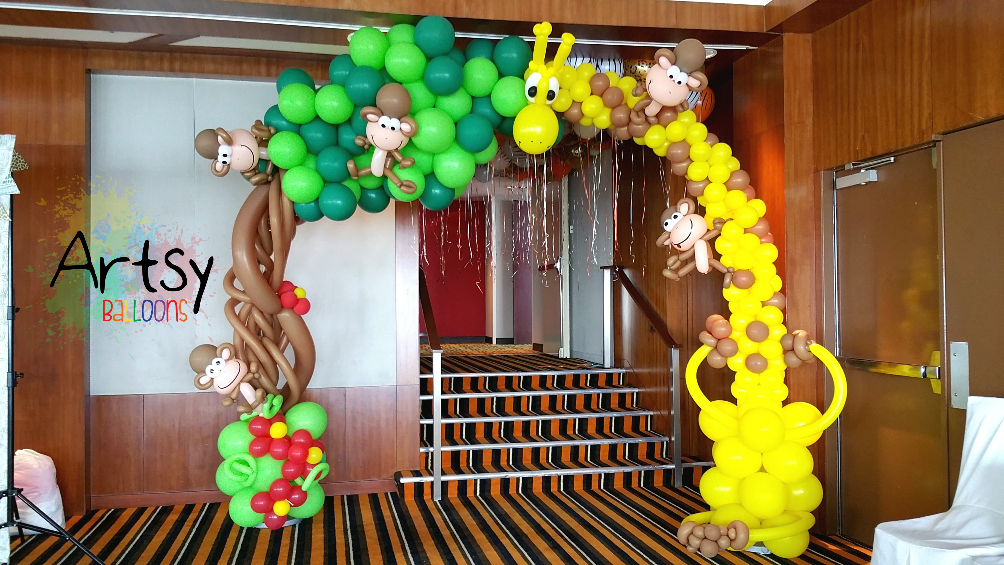 Safari Theme Party With Animal Balloon Arch Backdrop And