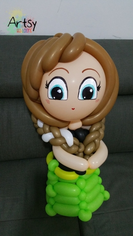 Balloon Sculpting Singapore for birthday parties and events Balloon Anna from Frozen