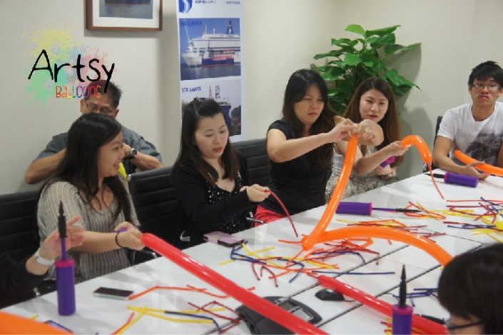, Corporate team building workshop for a local company!, Singapore Balloon Decoration Services - Balloon Workshop and Balloon Sculpting