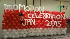 Balloon backdrop with alphabets and balloon boy