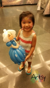 Balloon Sculpting Singapore for birthday parties and events balloon princess Elsa