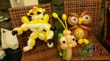 Balloon Sculpting Singapore for birthday parties and events balloon Owl, snail and transformers