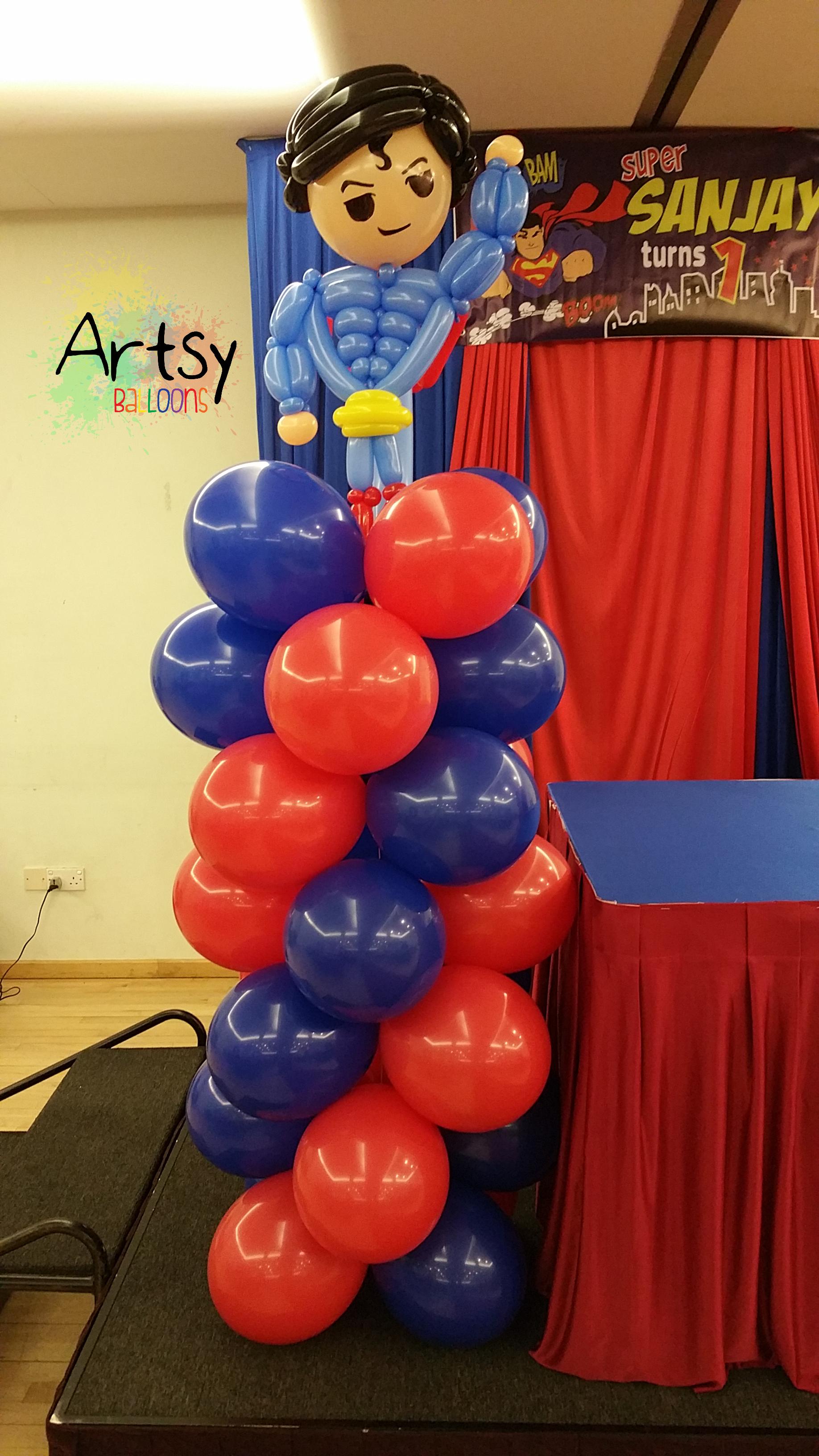 Diy balloon columns - Superman Balloon Columns 2