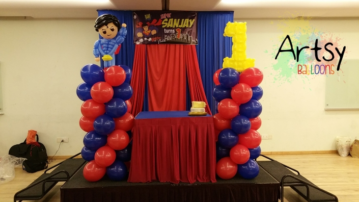 , Superman balloon decoration for a 1st year birthday party!, Singapore Balloon Decoration Services - Balloon Workshop and Balloon Sculpting