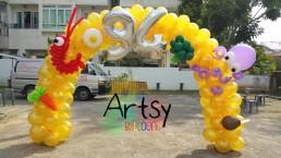 Food themed balloon arch