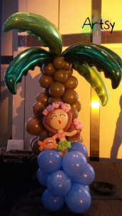 Balloon coconut tree with hawaii girl
