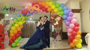 Rainbow wedding balloon arch