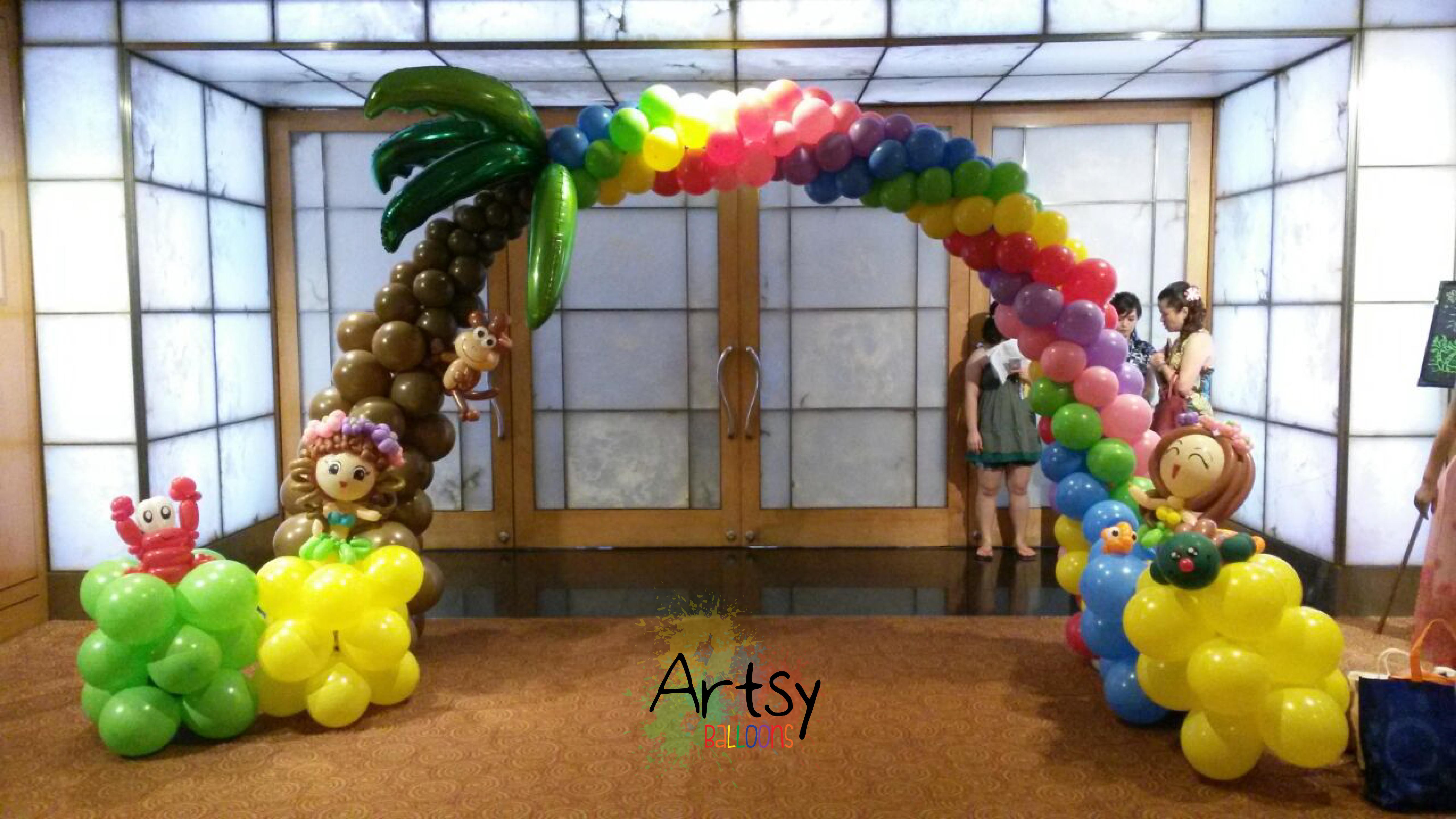 Hawaii Themed Rainbow Balloon Arch Singapore Balloon