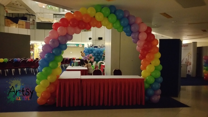 Rainbow balloon arch (3)