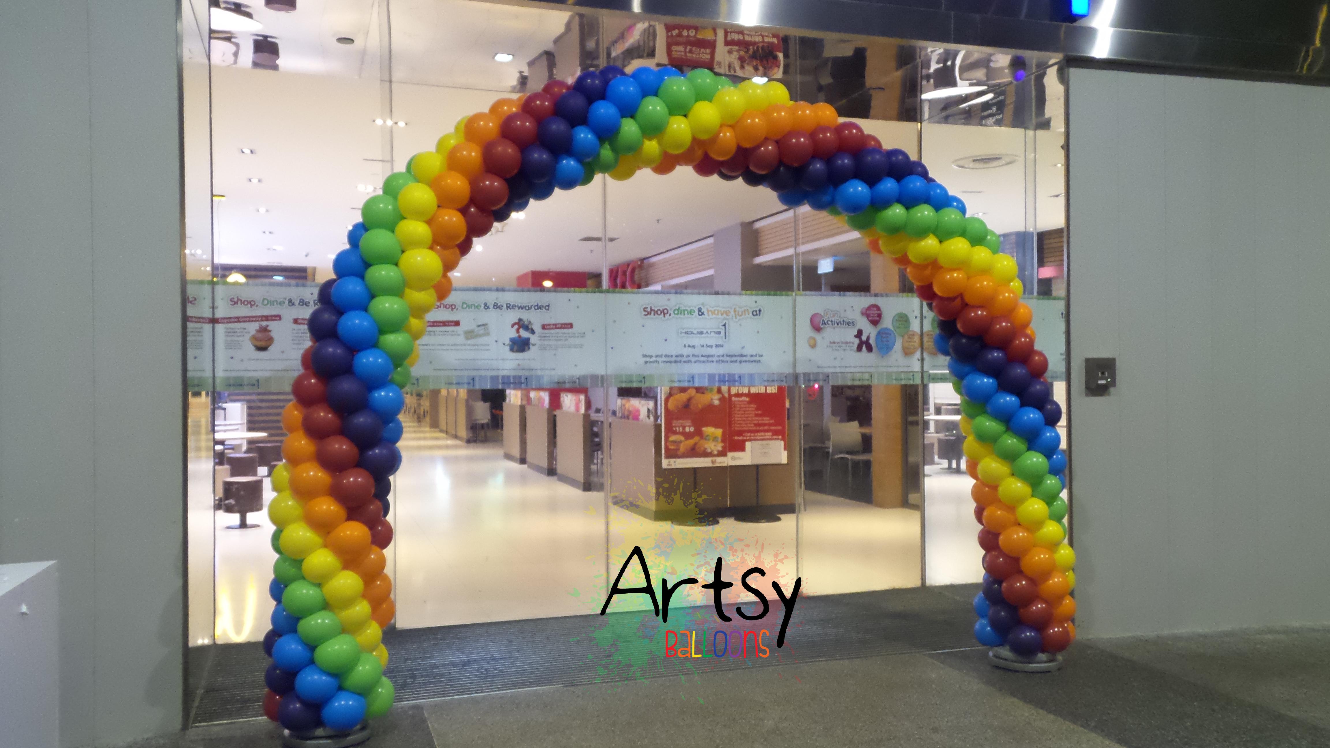 advance 6 colour spiral balloon rainbow arch