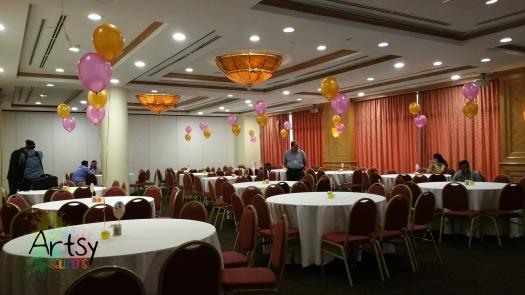 Helium balloon on the table