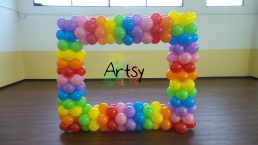 Rainbow balloon photobooth