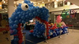 shark mouth themed balloon entrance arch